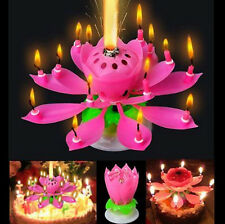 Amazing Rotatable Musical Blossom Lotus Flowers Happy Birthday Candles Pink Red