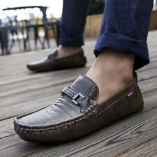 Mens Casual Leather Crocodile Print Slip On Driving Moccasins Loafers Flat Shoes
