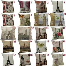 Vintage Sofa Eiffel Tower Throw Pillow Cover Cushion Cover Case Home Decor
