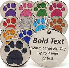 Personalised Engraved Pet Tags, 25mm & 32mm Glitter Paw Print Tag Dog Cat Pet ID