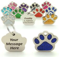 Personalised Engraved 27mm Glitter Paw Print Pet Tags, BOLD TEXT,Dog Cat Pet Tag