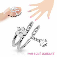 Adjustable Flower Rhodium Plated Brass Ring With CZ Gem