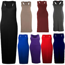 NEW WOMENS LADIES LONG VEST SUMMER DRESS MUSCLE JERSEY RACER BACK MAXI SIZES UK