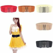 Fashion Elastic Stretch Cinch Buckle Bowknot Waistband Wide Waist Belt 5 Colors
