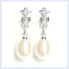 Sterling Silver Wedding Bridal CZ Crown White Fresh Water Pearl Dangle Earring