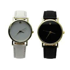 Couples Style Round Dial Casual Quartz Time Pointer PU Leather Band Wristwatch