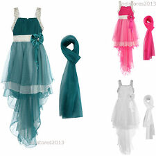 Dress Prom Party Chiffon Bridesmaid Formal Long Scarf Back New Size 2-13 Years