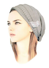 Gray Knitted Slouchy Beanie Hat Chunky Knitted Hat Handmade Black Brown Cream