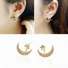 Fashion Charm Star Moon Crystal Ear Jewelry Lady Beauty Earring Stud Gold Plated