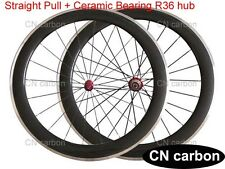 R36 + Ceramic bearing 60mm Clincher carbon road wheelset Alloy brake surface