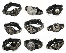 1pcs Genunine leather bracelets Men Cuff Punk Bracelet& Bangles Wristband Free