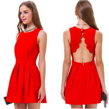 Women Summer Casual Sleeveless Party Evening Cocktail Sexy Short Mini Dress Red