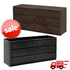 6 Drawer Dresser Bedroom Decor Chest of Drawers Modern Furniture Black or Brown