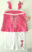 Juicy Couture Girls 2 pc Top Legging Set Pink White size 3/6 12/18 months NWT