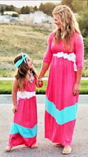 Mother & daughter CORAL TURQUOISE maxi dress, mommy me matching set, mom and me