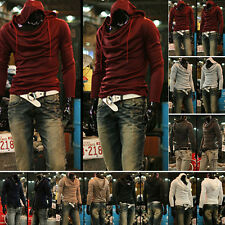 Mens New Long Sleeve Fashion Slim Fit Casual Hooded Hoodies Solid Pullover