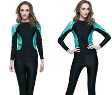Women Long Sleeve Rash Guard UV Swim Shirt Top Surf Swimwear Sun Shirt Beachwear