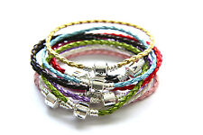Leather Charm Bracelet 925 Silver Plating Clasp (Fit European Beads)
