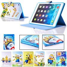 Cartoon Despicable Me Minion Sleep/Wake Up Stand PU Leather Case Cover for iPad