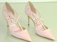 $865 New Manolo Blahnik PARIGATAMA Pink Suede Leather Bow Ankle Strap Shoes 39.5