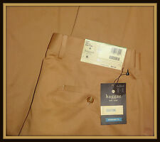 New Haggar $80 Tag 34W 36W 38W Men's Khaki Cotton Twill Strait Fit Khaki Pants