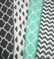 "100% printed cotton! Width 64"" by metre! Mint and black Maroccan,clouds,chevron"