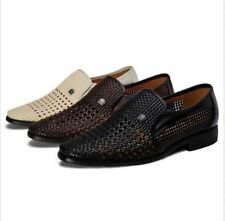 Mens Casual Hollow Out Breathable Charm Slip On Woven Sandals Dress Shoes Loafer