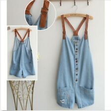 Women Washed Denim Jeans Loose Jumpsuit Hole Short Romper Overall Pants One Size