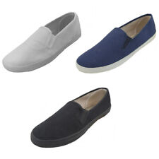 Mens Canvas Loafers Sneakers Slip On Fashion Twin Gore Boat Deck Shoes Size:6-13