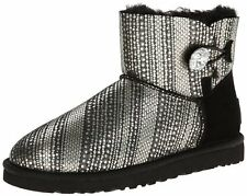 UGG 1003735 MINI Bailey Button Bling Shearling Leather Sheepskin Boots Black 6 7