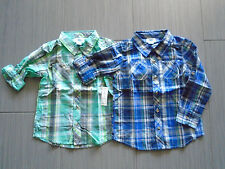 New w Tag Old Navy Baby Boy Long Sleeve Green or Blue Checked Shirt Size 5T