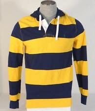 Polo Ralph Lauren Yellow & Blue Striped Hooded Long Sleeve Polo Shirt Mens NWT