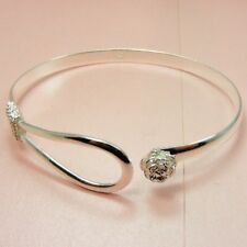 925 STERLING SILVER Filled Rose FLOWER or Twiste Style CUFF Bangle BRACELET