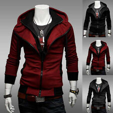 New Men Double Zip Slim Fit Casual Sweatshirt Hoody Top Jacket Coat Hoodies Size