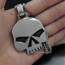 Men Silver Heavy Skull Motorcycle Biker Solid 316L Stainless Steel Pendant