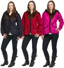Ladies Padded Lined Jackets Hooded Zip Full Sleeve Casual Wear Slim Fitted Coats