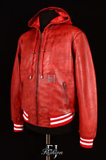 BASEBALL HOODED RED WASHED (4486) Mens Real Soft Hooded Lambskin Leather Jacket