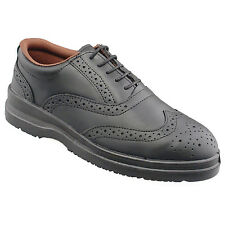 Mens Gents New Black Leacher Safety Work Brogue Oxford Shoes 6 7 8 9 10 11 12