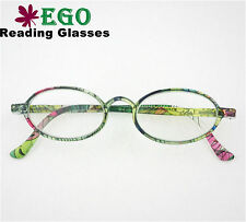 EGO Round Oval Rainbow Green Color Reading Glasses Hipster All Strength Unisex