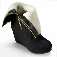 NEW! Juicy Couture Designer KASIA Fur Wedge Boots -Suede Shearling NIB Authentic