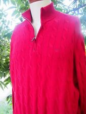 Excellent MICHAEL KORS 1/2 Zip Cable Knit Sweater Mens XXL 100% Cotton Red Mock
