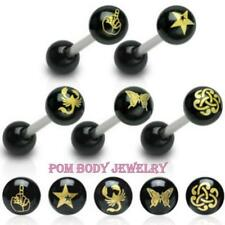 14G Surgical Steel Black IP Laser Cut Patterned Barbell Nipple Tongue Ring