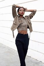 Missguided Black Cigarette Trousers Pants Turn-up High Waisted Tapered Skinny