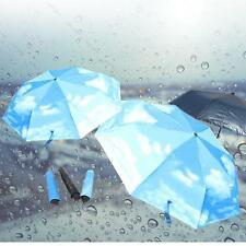 Super Anti-uv Sun Protect #G Umbrella Blue Sky 3 Folding Parasols Rain Umbrellas