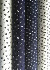 PolyCotton Fabric Anchor White Blue Nautical Ocean Light house Helm Stars Boats