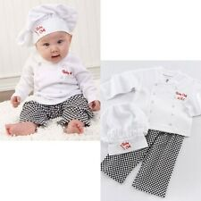 Baby Boy Girl Cook Chef Halloween Party Costume Top+Pant+Hat Dress Set 6-24M