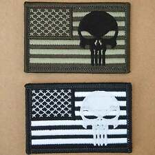 Punisher Skull USA Flag Army Swat Navy Seals Embroidered Iron on Patch