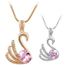 18K gold/white gold filled lovely Swarovski crystal cute Swan pendant necklace