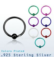 "1pc. 22g~1/4"", 5/16"", 3/8""  Plated .925 Sterling Silver Nose Hoop 2mm Fixed ball"