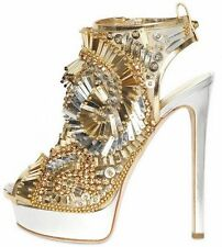 DSQUARED² Gold Leather Sequin Jeweled Embellished Sandals Shoes 37 38 39 or 40